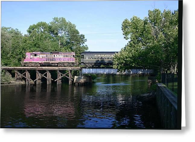 Passenger Train On Bridge. Greeting Cards - Carolina Southern Greeting Card by Joseph C Hinson Photography