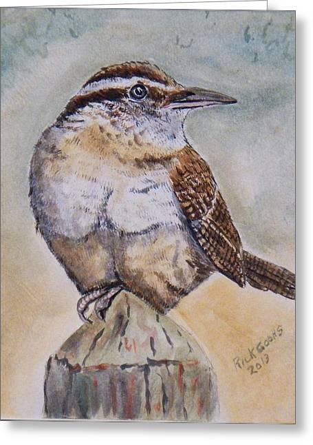 Sitting At The Feeder Greeting Cards - Carolina Wren Greeting Card by Richard Goohs
