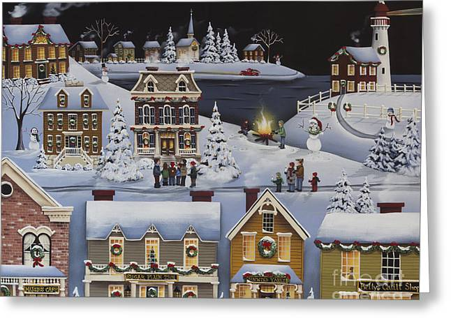 American Primitive Art Greeting Cards - Caroling in Winterberry Greeting Card by Catherine Holman