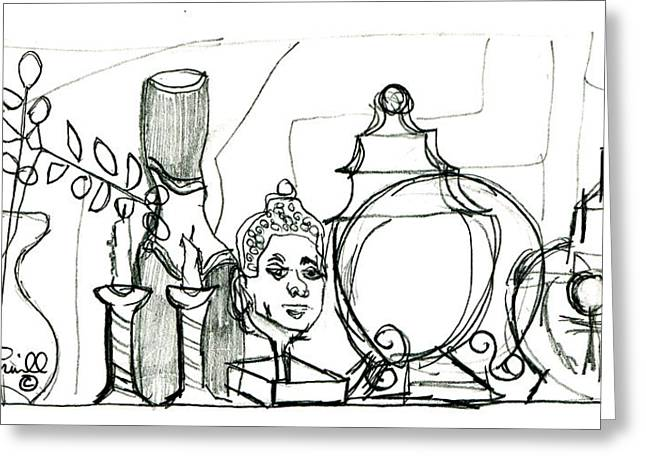 Famous African Americans Drawings Greeting Cards - Carols Mantel - drawing Greeting Card by Everett Spruill