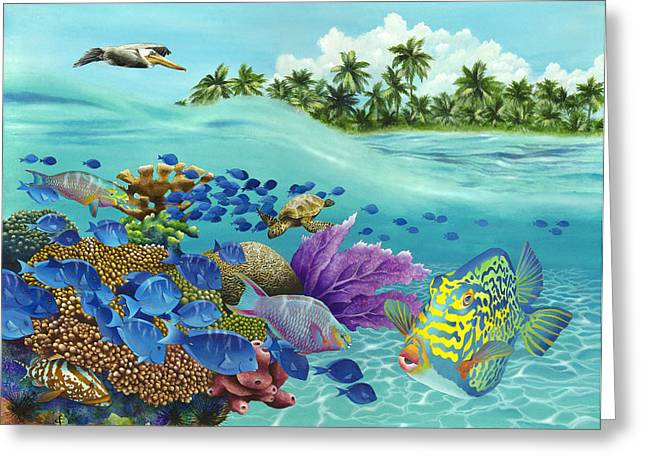 School Of Fish Greeting Cards - Coral Carnival Greeting Card by Carolyn Steele