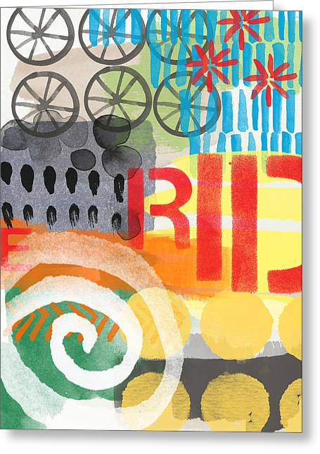 Blue Bike Greeting Cards - Carousel #6 RIDE- Contemporary Abstract Art Greeting Card by Linda Woods