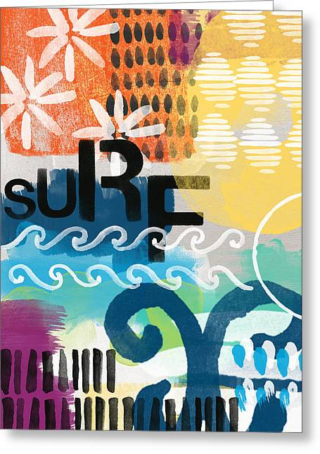 Surfing Art Greeting Cards - Carousel #7 SURF - contemporary abstract art Greeting Card by Linda Woods