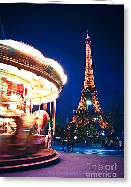 Carousel Greeting Cards - Carousel and Eiffel tower Greeting Card by Elena Elisseeva