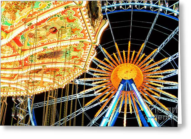 Muenchen Greeting Cards - Carousel and Ferries Wheel at Night at the Octoberfest in Munich Greeting Card by Sabine Jacobs