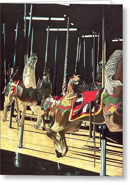 Amusements Greeting Cards - Carousel Greeting Card by Anthony Butera