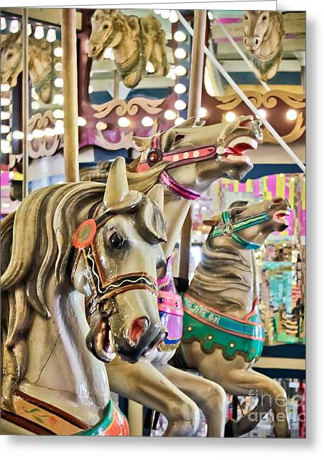 Original Art Photographs Greeting Cards - Carousel at Casino Pier Greeting Card by Colleen Kammerer