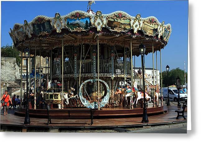 Calvados Greeting Cards - Carousel At Honfleur  Greeting Card by Aidan Moran