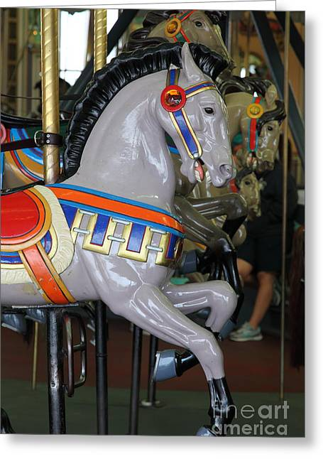 Santa Cruz Ca Greeting Cards - Carousel At Santa Cruz Beach Boardwalk California 5D23636 Greeting Card by Wingsdomain Art and Photography