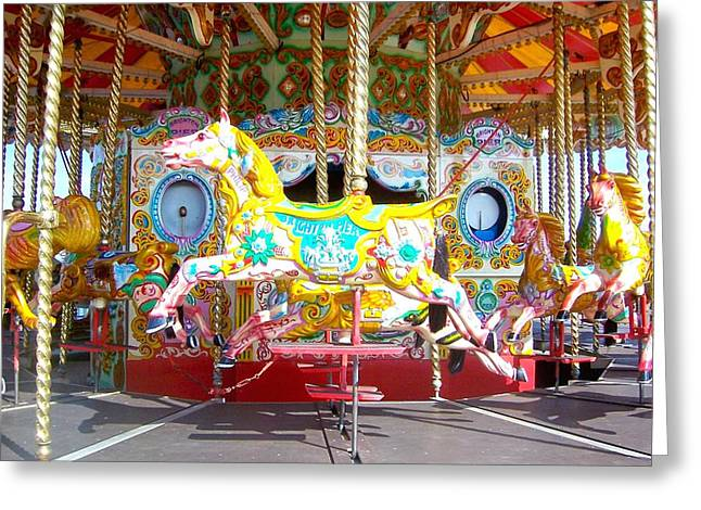 Amusements Greeting Cards - Carousel at the Brighton Pier Greeting Card by Jan Matson