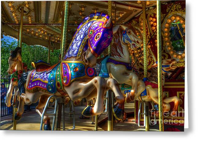 Carousel Beauties Ready To Ride Greeting Card by Bob Christopher