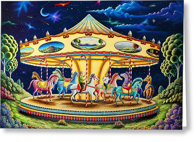 Moonlit Night Greeting Cards - Carousel Dreams 3 Greeting Card by Andy Russell