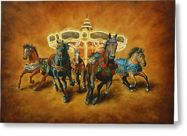 Amusements Greeting Cards - Carousel Escape Greeting Card by Jason Marsh