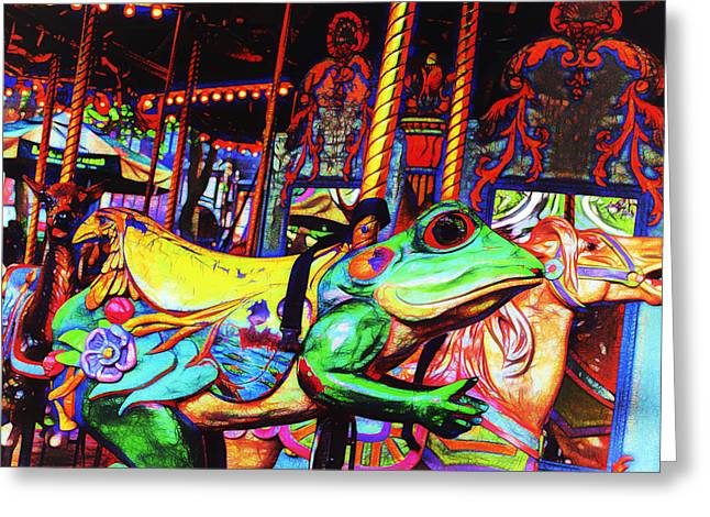 Bryant Greeting Cards - Carousel Frog Greeting Card by Marianne Campolongo