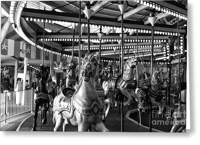 Horses On Sale Greeting Cards - Carousel Head On mono Greeting Card by John Rizzuto