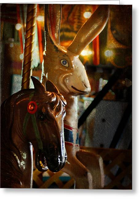Jack Rabbit Greeting Cards - Carousel Horse And Rabbit Greeting Card by Cat Whipple