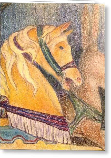 Amusements Drawings Greeting Cards - Carousel Horse at Glen Echo Park Greeting Card by Lin-Lin Mao