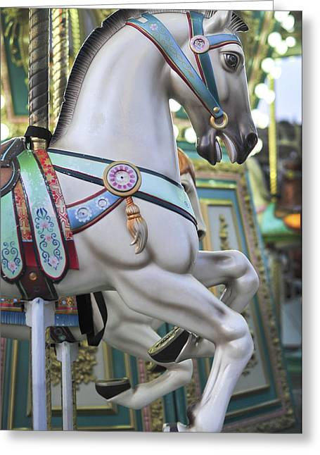 Landscape Iphone Phone Case Greeting Cards - Carousel Horse Historic Smithville NJ Greeting Card by Terry DeLuco