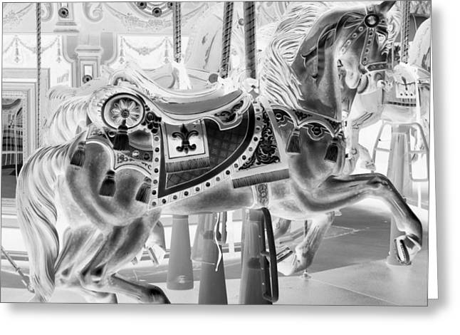 Carnie Greeting Cards - CAROUSEL HORSE in NEGATIVE 2 Greeting Card by Rob Hans