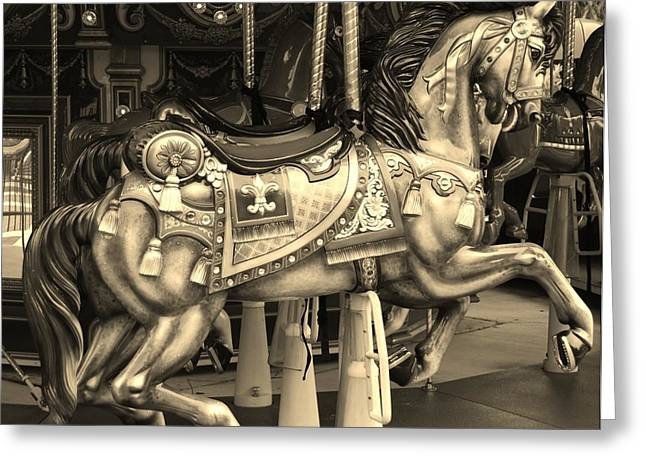 Carnie Greeting Cards - CAROUSEL HORSE in SEPIA Greeting Card by Rob Hans