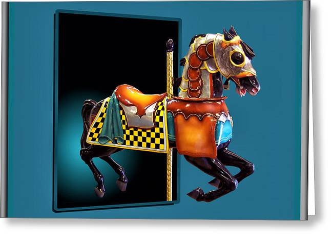 Oof Greeting Cards - Carousel Horse Left Side Greeting Card by Thomas Woolworth
