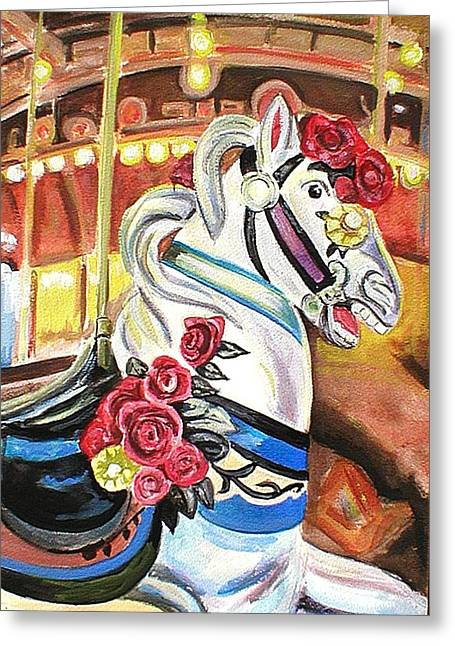 Seaside Heights Paintings Greeting Cards - Carousel Horse Greeting Card by Melinda Saminski