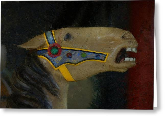 Carousel Horse Painterly 2 Greeting Card by Ernie Echols