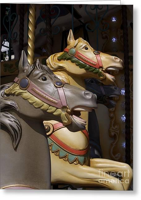 Amusements Greeting Cards - Carousel horses Greeting Card by Bernard Jaubert