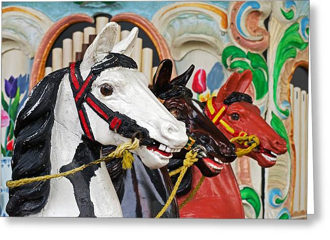 Cheryl Cencich Greeting Cards - Carousel Horses Greeting Card by Cheryl Cencich