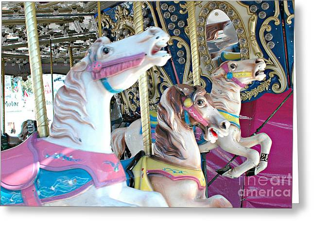 Festivals Fairs Carnival Photos Greeting Cards - Carousel Horses - Dreamy Baby Pink Carousel Merry Go Round Horses  Greeting Card by Kathy Fornal