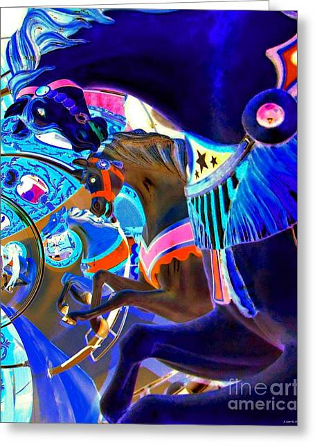 Impressionistic Equine Art Greeting Cards - Carousel Horses IIII Greeting Card by Annie Zeno