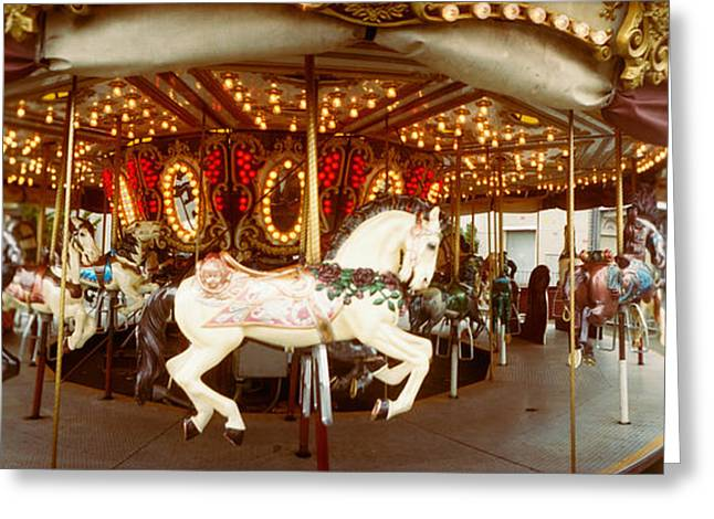 Seattle Center Greeting Cards - Carousel Horses In An Amusement Park Greeting Card by Panoramic Images