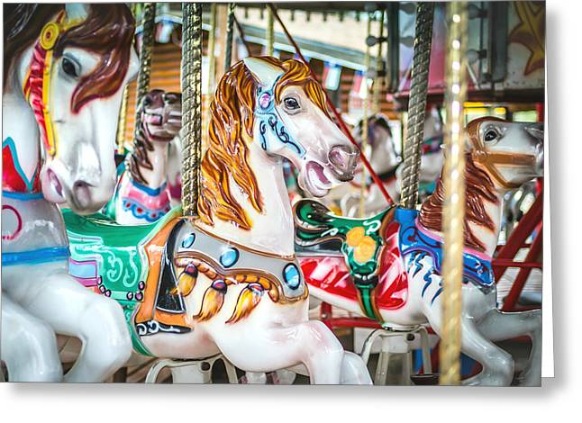 Wooden Sculpture Greeting Cards - Carousel Horses Greeting Card by Robert Bellomy