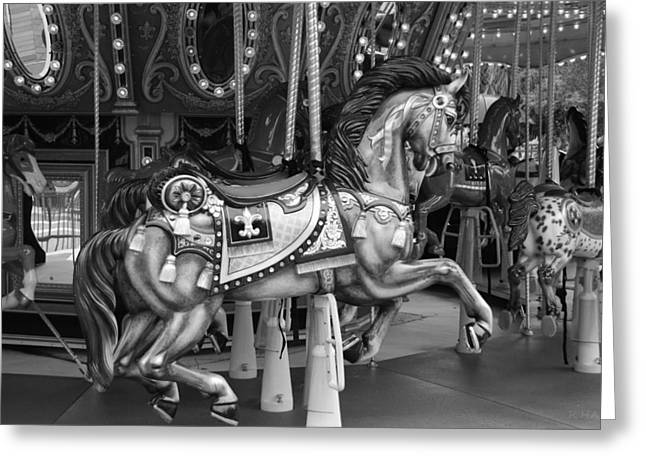 Carnie Greeting Cards - CAROUSEL in BLACK AND WHITE 2 Greeting Card by Rob Hans