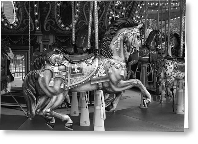 Carnie Greeting Cards - CAROUSEL in BLACK AND WHITE Greeting Card by Rob Hans
