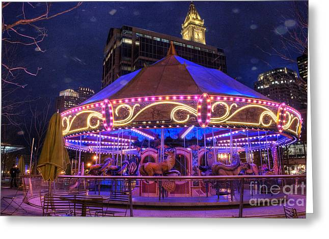 Amusements Greeting Cards - Carousel in Boston Greeting Card by Juli Scalzi