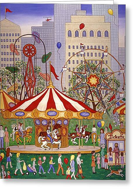Carousel In City Park Greeting Card by Linda Mears