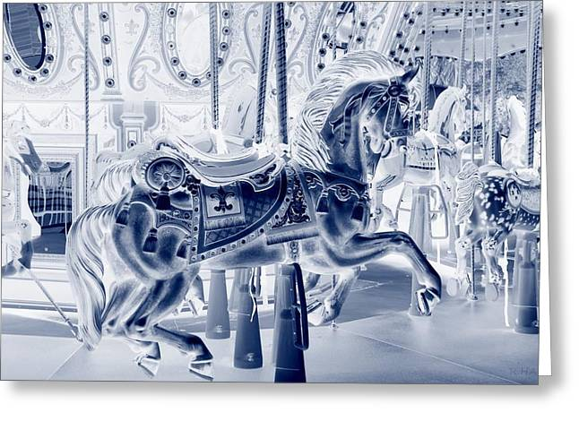 Carnie Greeting Cards - CAROUSEL in NEGATIVE CYAN Greeting Card by Rob Hans