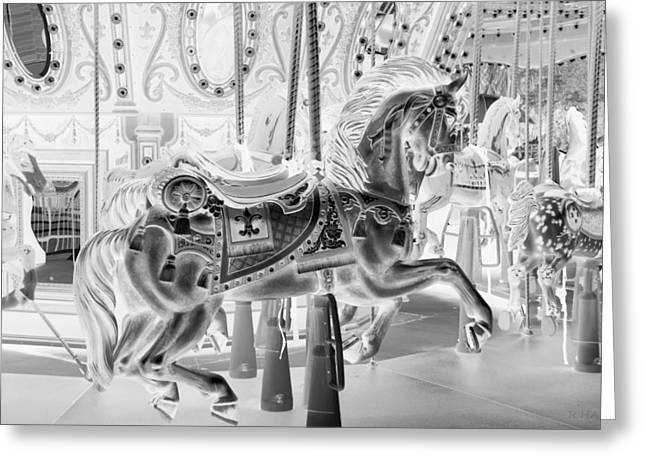 Carnie Greeting Cards - CAROUSEL in NEGATIVE Greeting Card by Rob Hans
