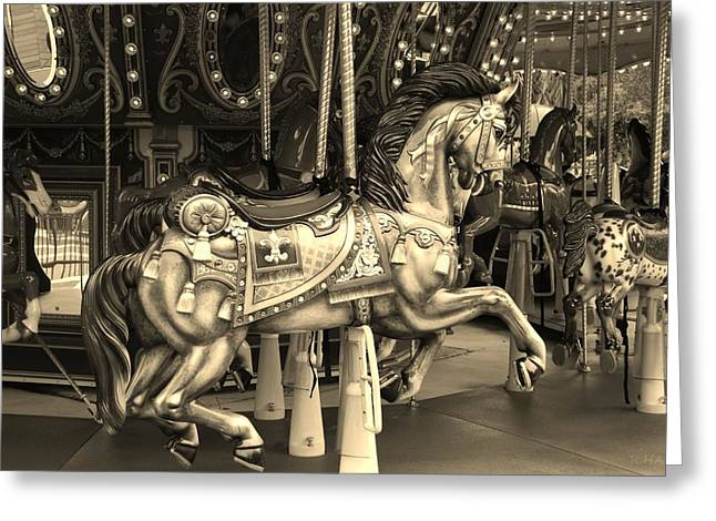 Carousel In Sepia Greeting Card by Rob Hans