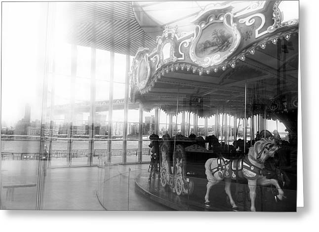 Nyc Pyrography Greeting Cards - Carousel Greeting Card by Kristen Karpoich Gross