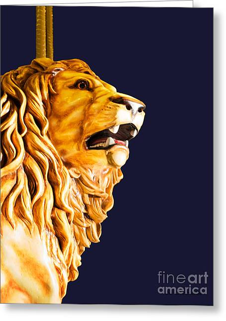 Looff Greeting Cards - Carousel Lion Greeting Card by Barbara McMahon