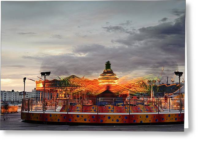 Helter-skelter Greeting Cards - Carousel Greeting Card by Matthew Gibson