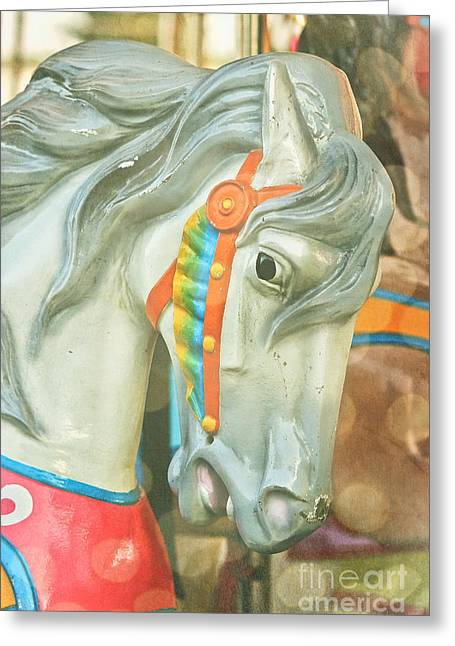 Kiddie Rides Greeting Cards - Carousel Painted Pony Greeting Card by Colleen Kammerer