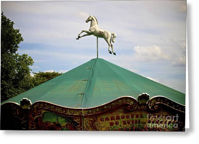 Funfair Greeting Cards - Carousel. Paris. France. Greeting Card by Bernard Jaubert