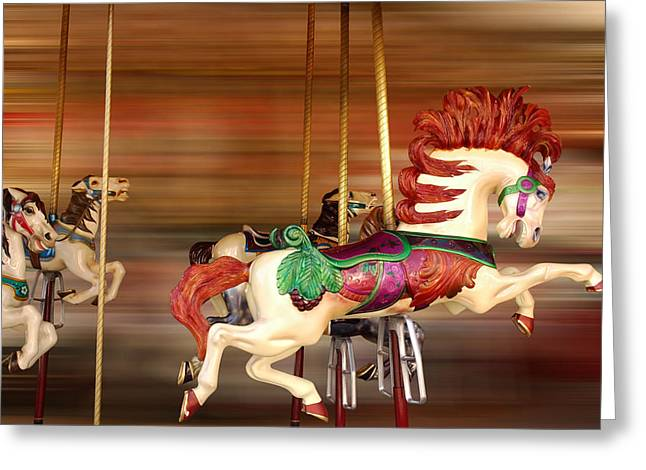 Carousel Rush Greeting Card by Edwin Verin