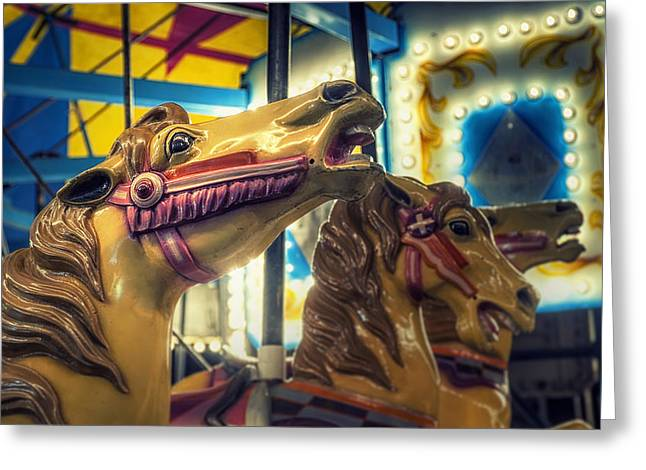 Amusements Greeting Cards - Carousel Greeting Card by Scott Norris