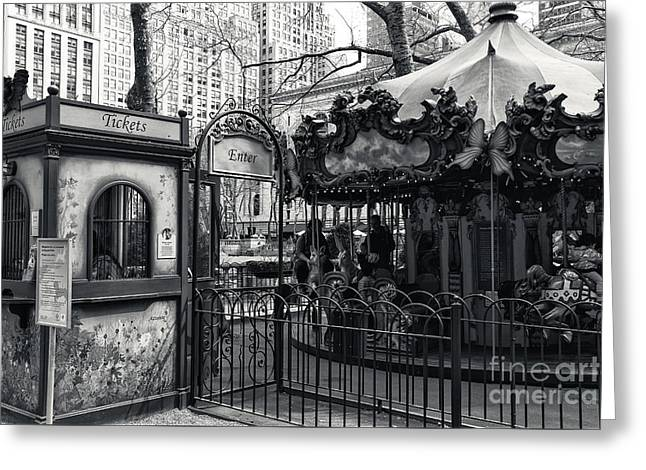 Bryant Park Photographs Greeting Cards - Carousel Tickets mono Greeting Card by John Rizzuto
