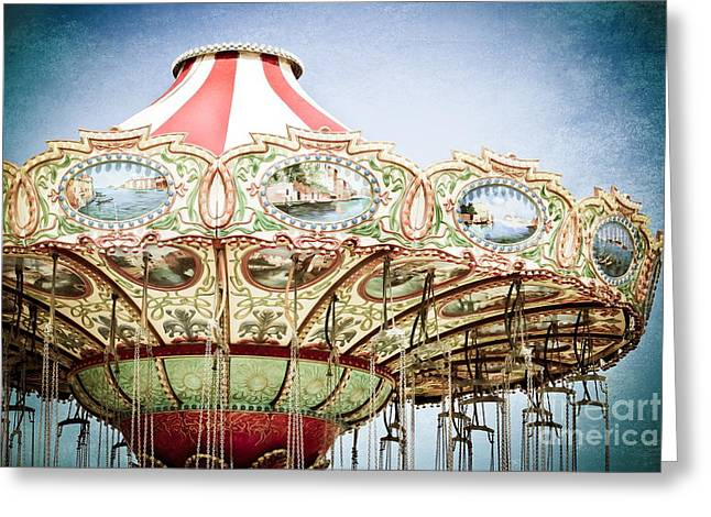 Roundabout Greeting Cards - Carousel Top Greeting Card by Colleen Kammerer