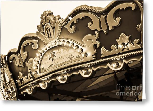 Worn In Greeting Cards - Carousel Top in Sepia Greeting Card by Colleen Kammerer